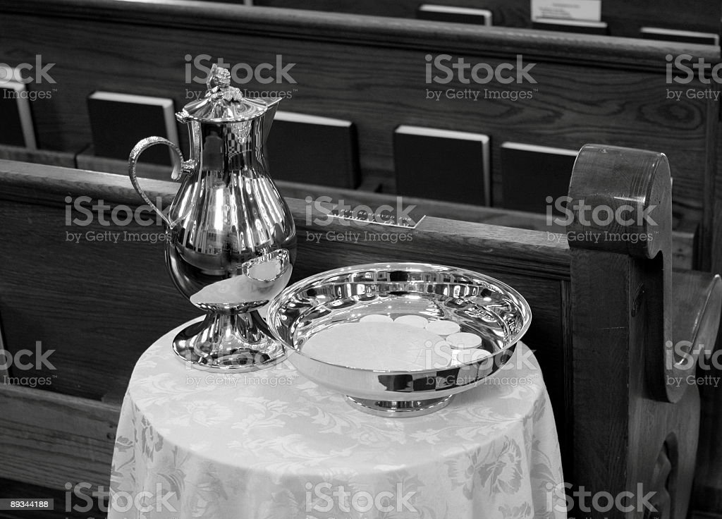 Communion Wine Decanter &  Bread Wafers On Table royalty-free stock photo
