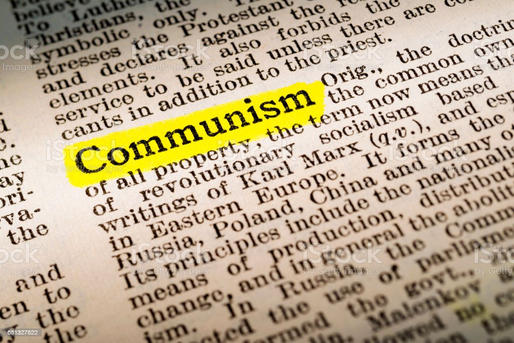 Communism - dictionary definition highlighted stock photo