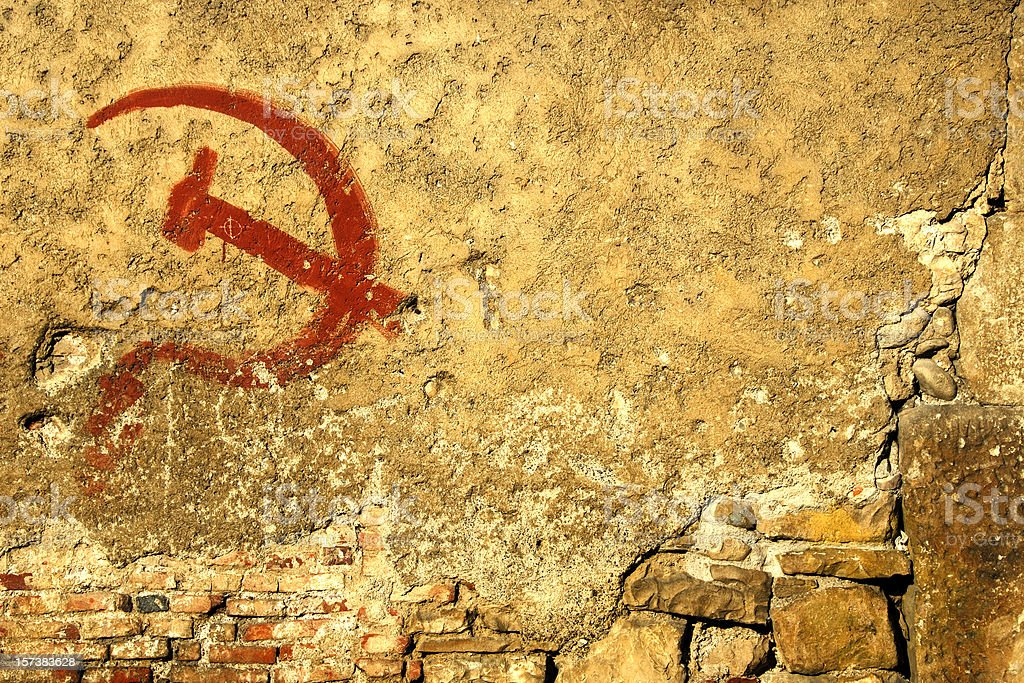 Communism symbol graffiti ruined stock photo