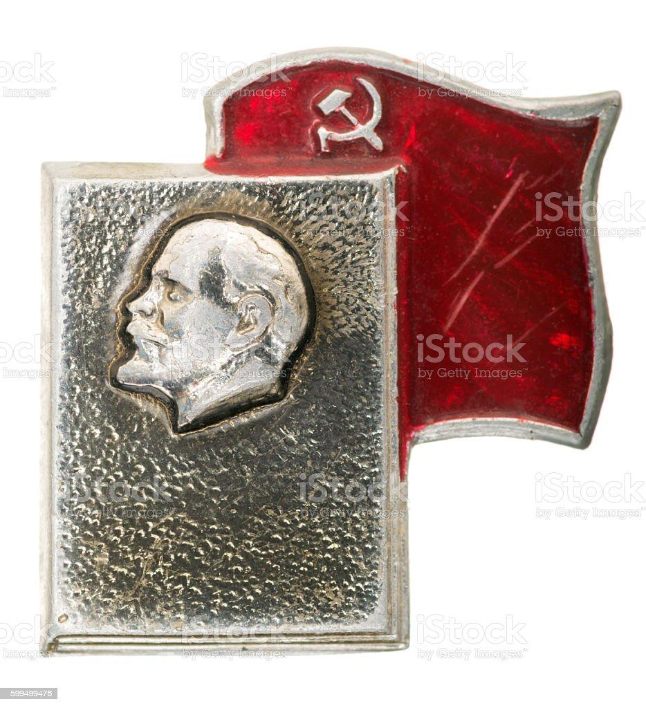 Communist badge, Lenin, hammer and sickle stock photo