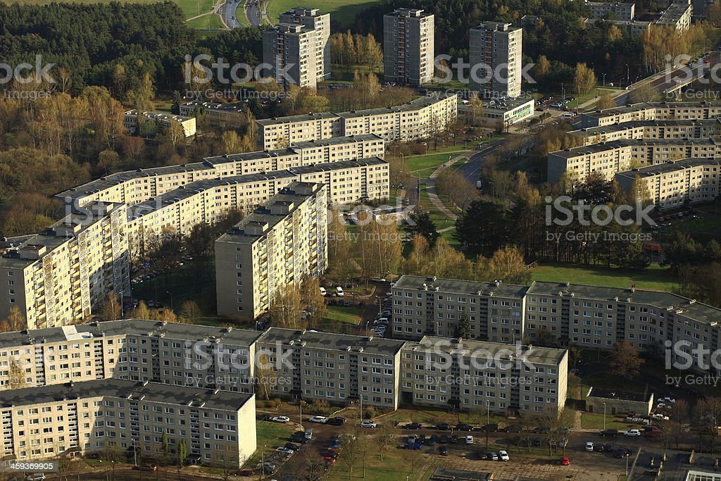 Communist era soviet buildings in Vilnius, Lithuania - Baltics royalty-free stock photo