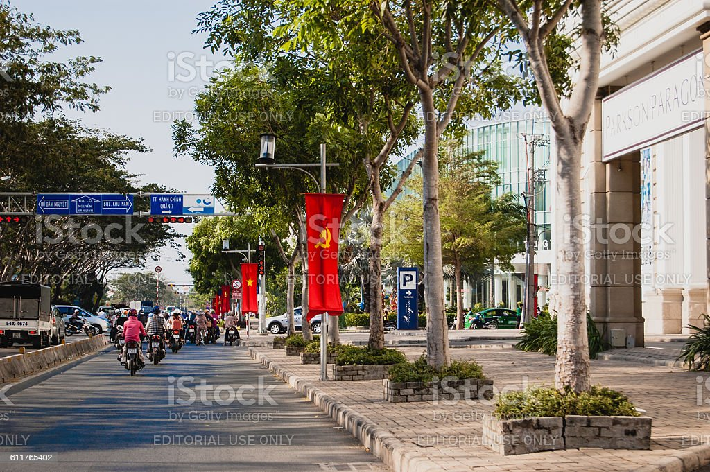 Communist flags in the street of Saigon stock photo