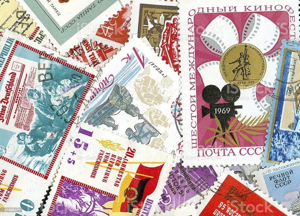 Communist propaganda vintage  stamps royalty-free stock photo