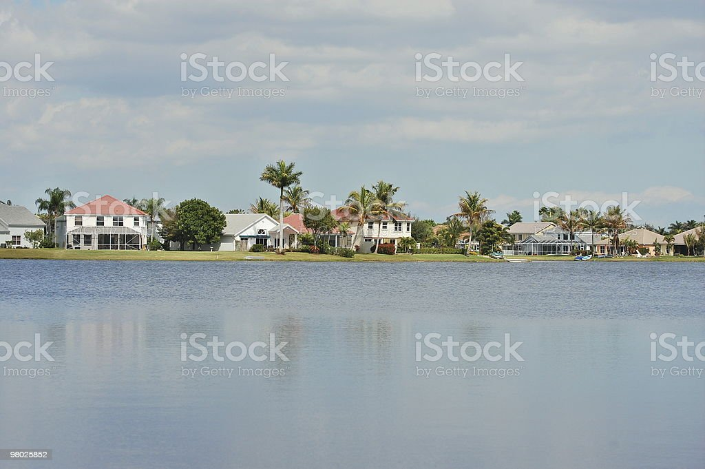 Community along lake stock photo
