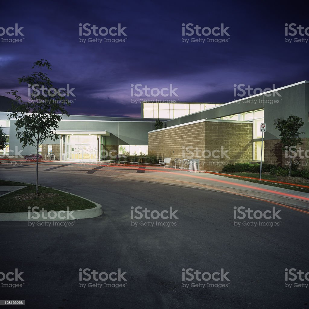 Community Center at Night royalty-free stock photo