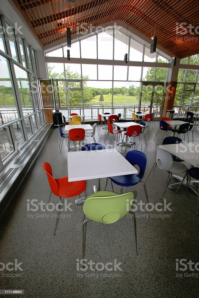Community center near the lac des Castors in Montreal City stock photo