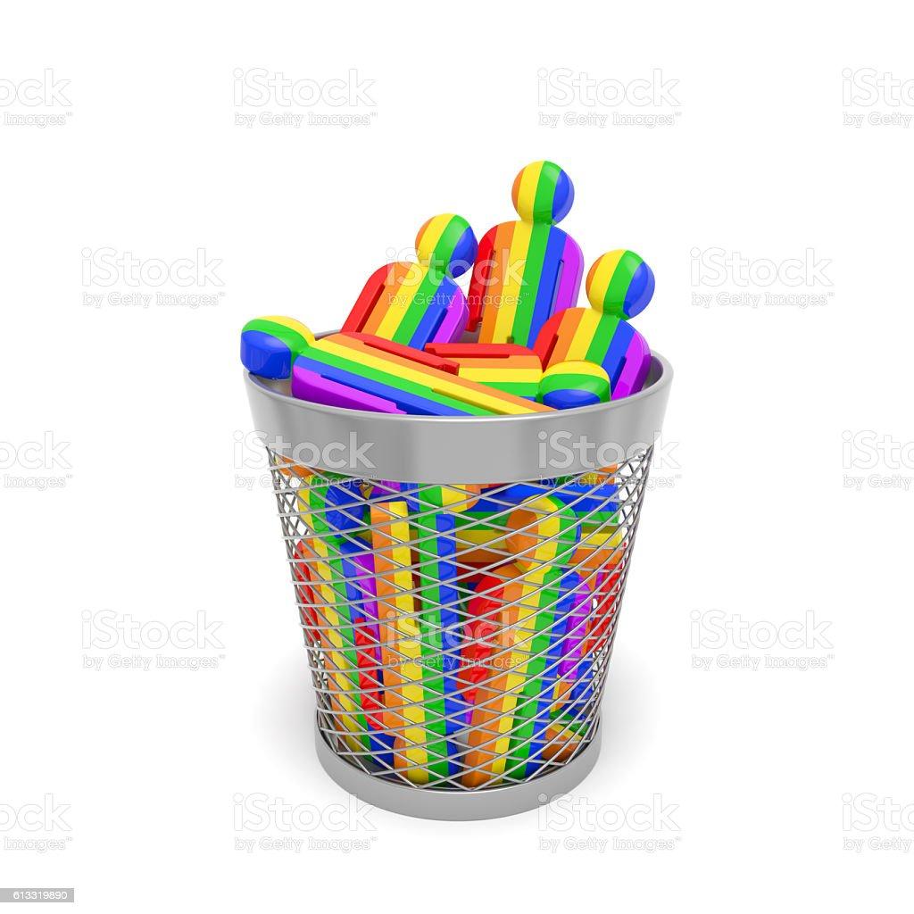 LGBT community discrimination or homophobia, transphobia, gay-bashing (concept) stock photo