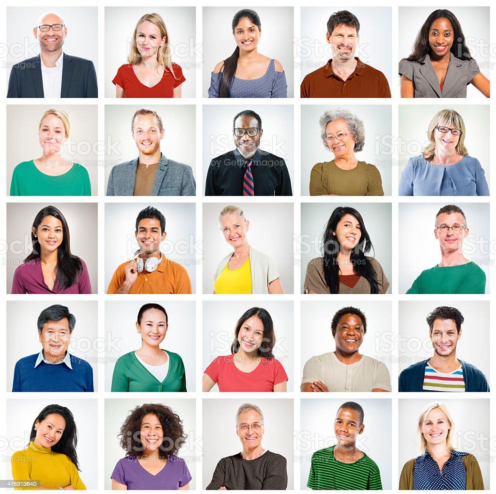 Community Diversity Group Headshot People Concept stock photo