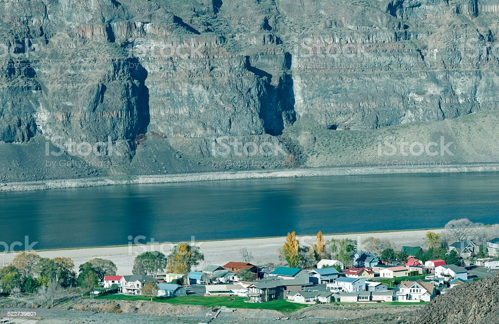 Community on Columbia River in central Washington state stock photo