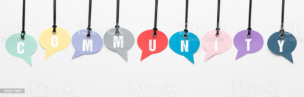 Community speech bubbles stock photo