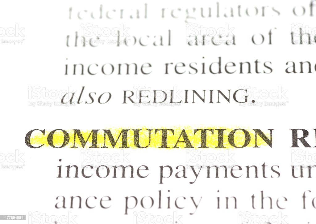 commutation definition highligted in dictionary royalty-free stock photo