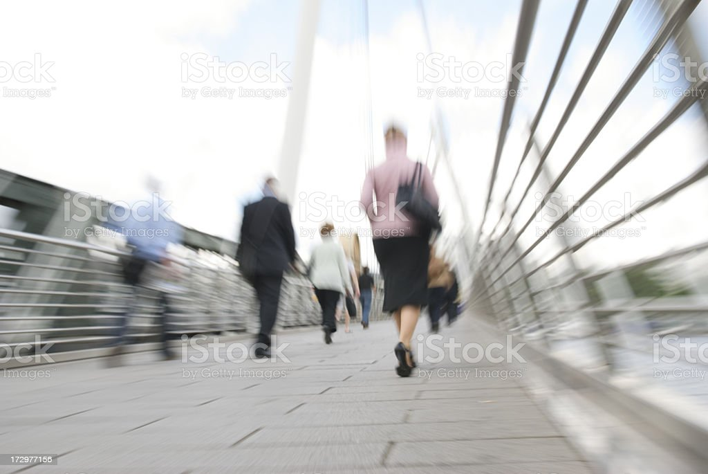 Commuter Bridge Zoom Rush Hour Pedestrians royalty-free stock photo