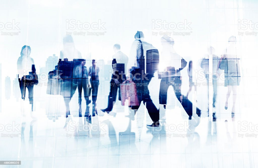 Commuter Business People Cityscape Corporate Travel Concept stock photo