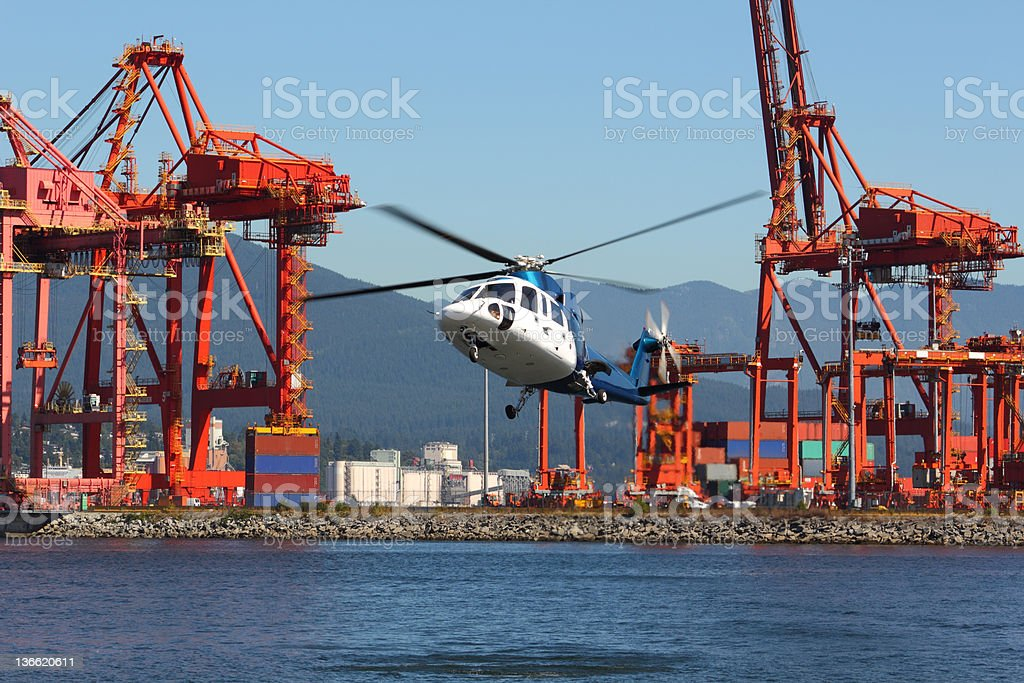 Commuter Helicopter Landing, Vancouver stock photo