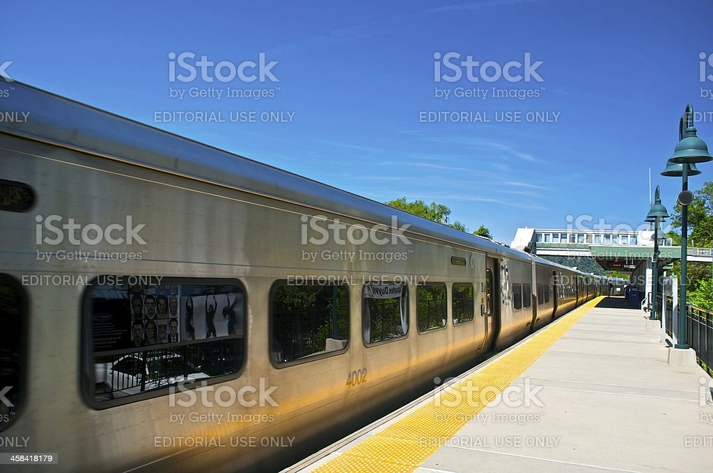 Commuter railroad train at station, Bronx, New York City royalty-free stock photo