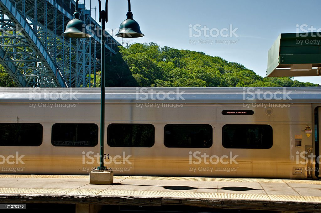 Commuter Railroad train at station, Bronx New York City stock photo