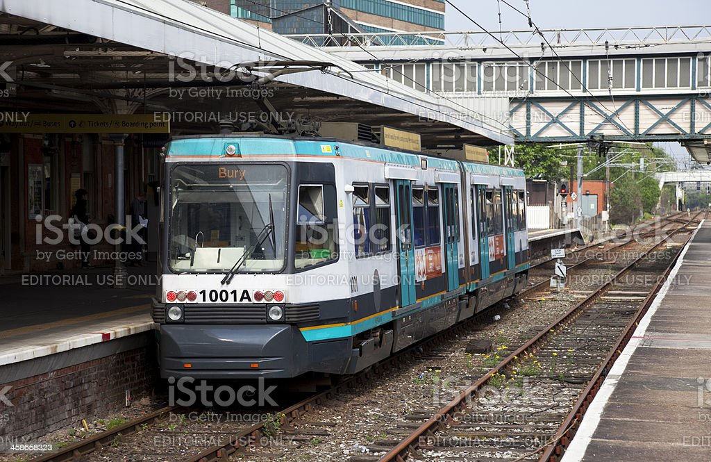 Commuter railway station with tram stock photo