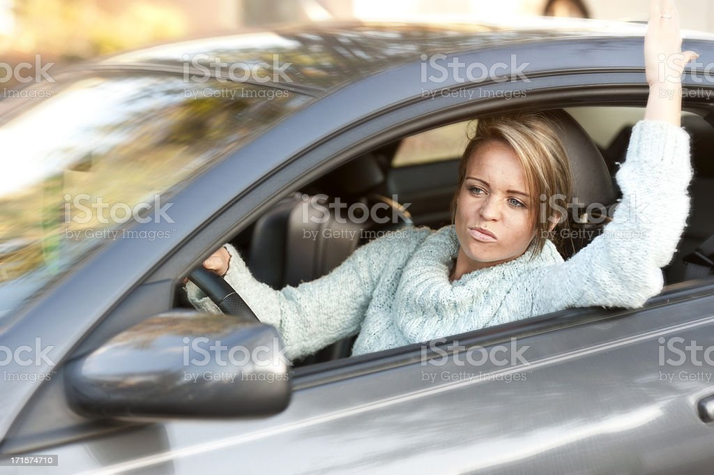 Commuter stuck in traffic royalty-free stock photo