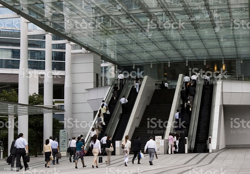 Commuter toward office building royalty-free stock photo