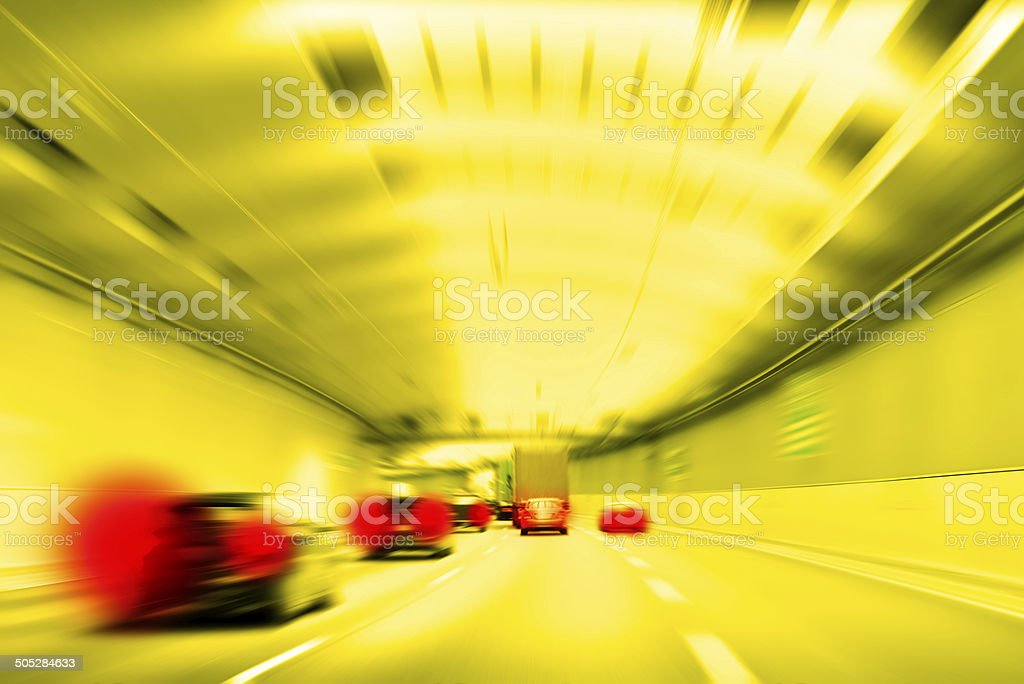 Commuter traffic - Traffic Jam in an Urban Expressway Tunnel stock photo