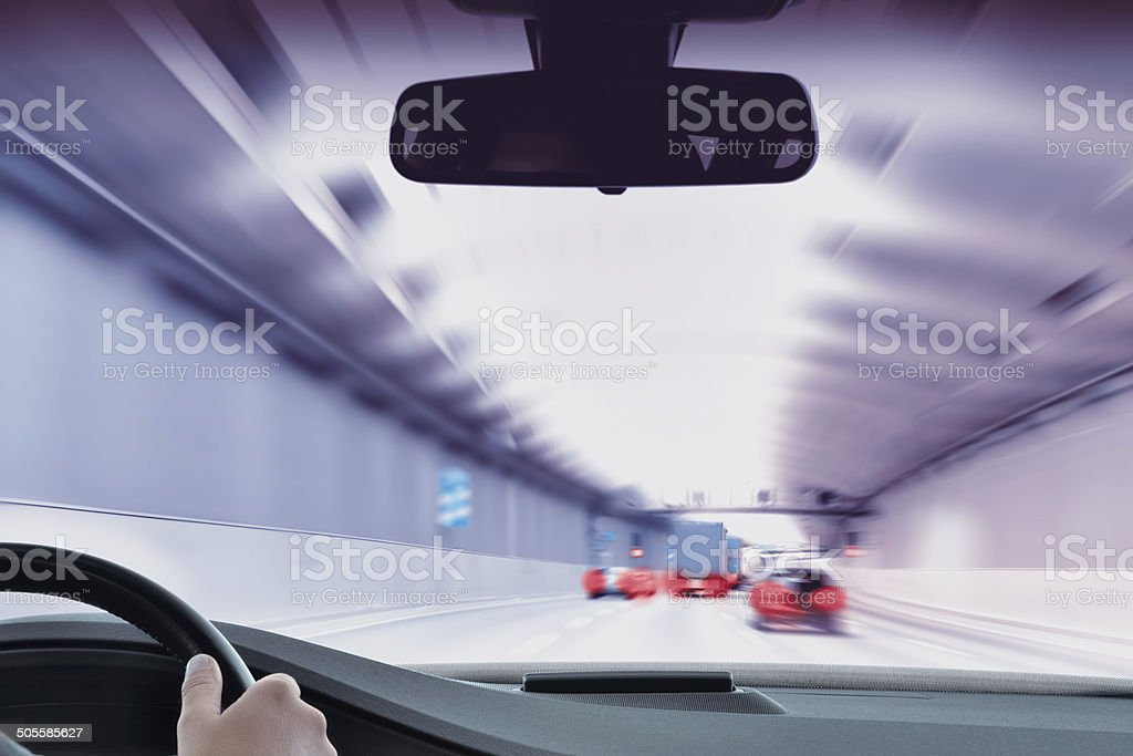 Commuter Traffic - Traffic Jam in an Urban Tunnel stock photo