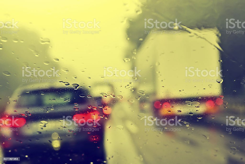 Commuter Traffic - Traffic Jam on an Expressway (Motorway) stock photo