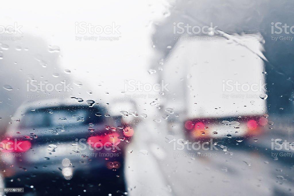 Commuter Traffic - Traffic Jam on an Expressway (Motorway) stock photo