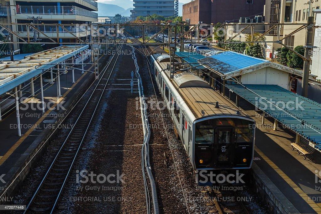 Commuter train at Urakami station in Nagasaki stock photo