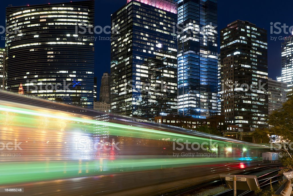Commuter Train in Downtown Chicago royalty-free stock photo