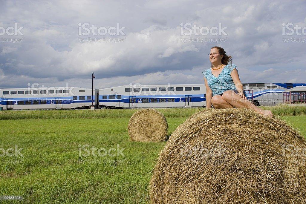 Commuter train lady stock photo