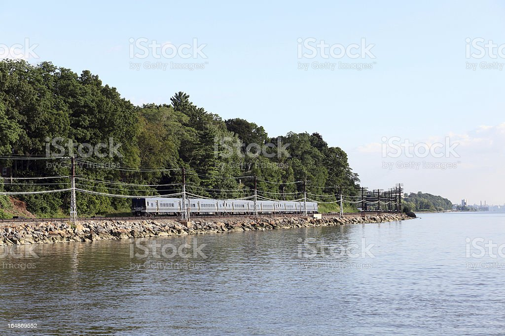 NYC Commuter Train on the Hudson II royalty-free stock photo