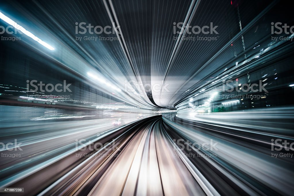 Commuter Train Speeding stock photo
