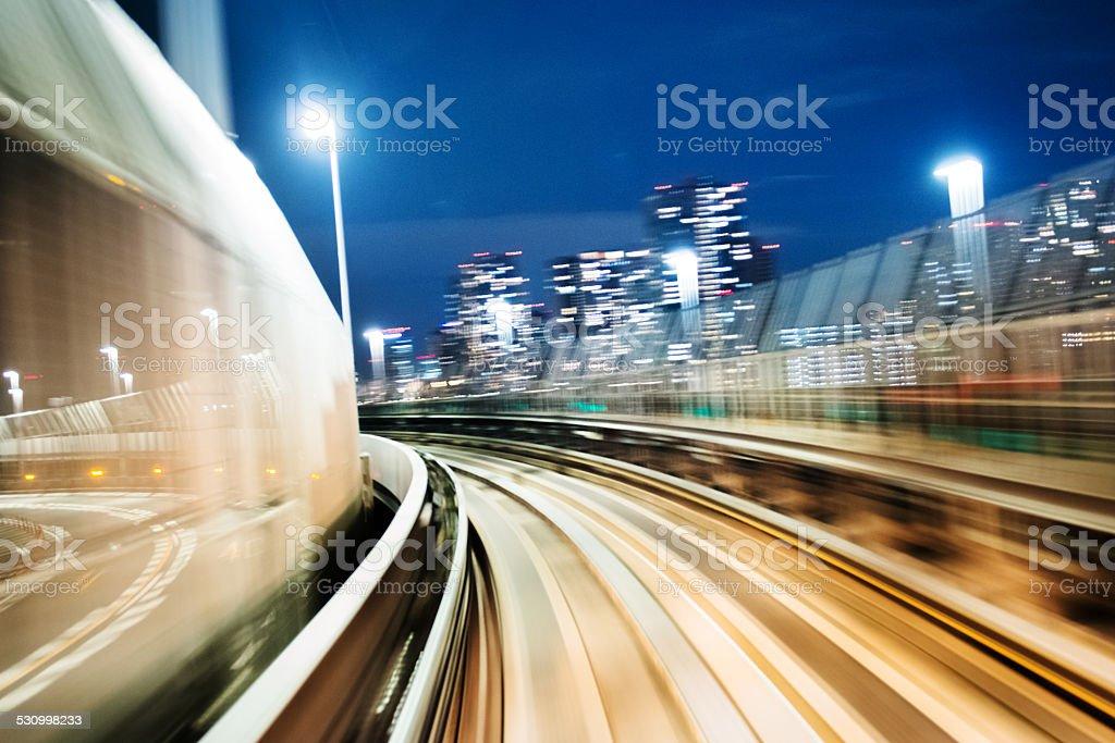 Commuter Train Speeding stock photo