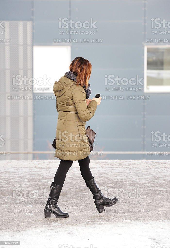 Commuter waiting walking at subway train station platform royalty-free stock photo