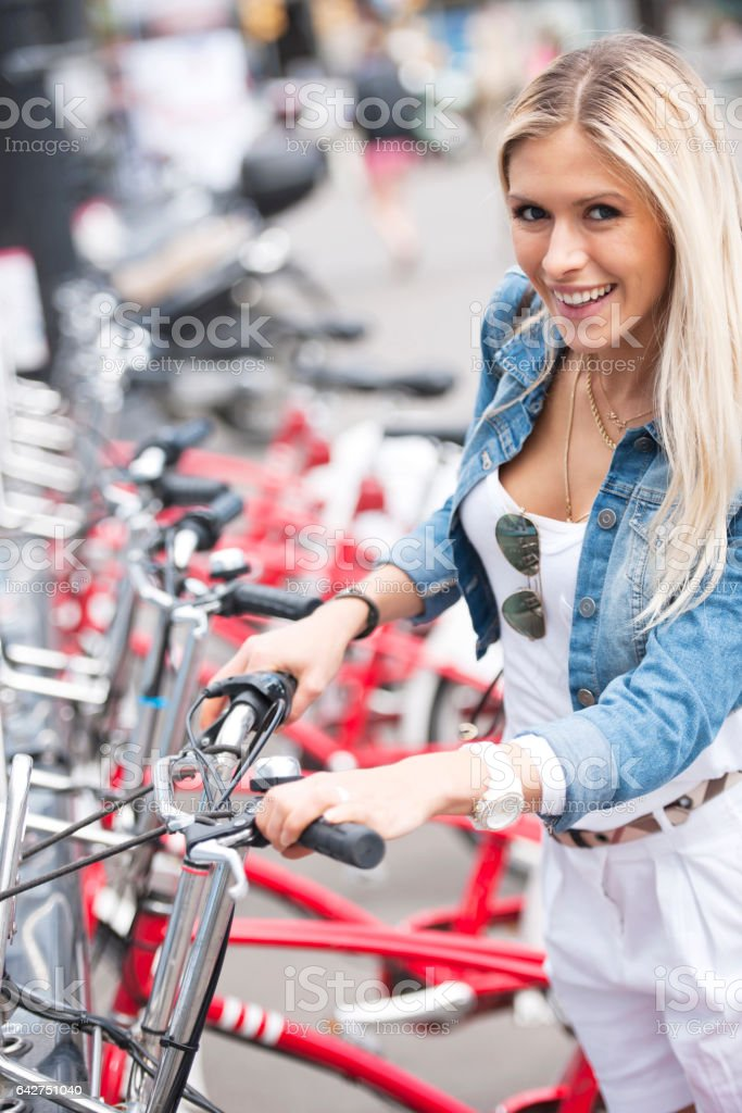 Commuter with bicycle stock photo