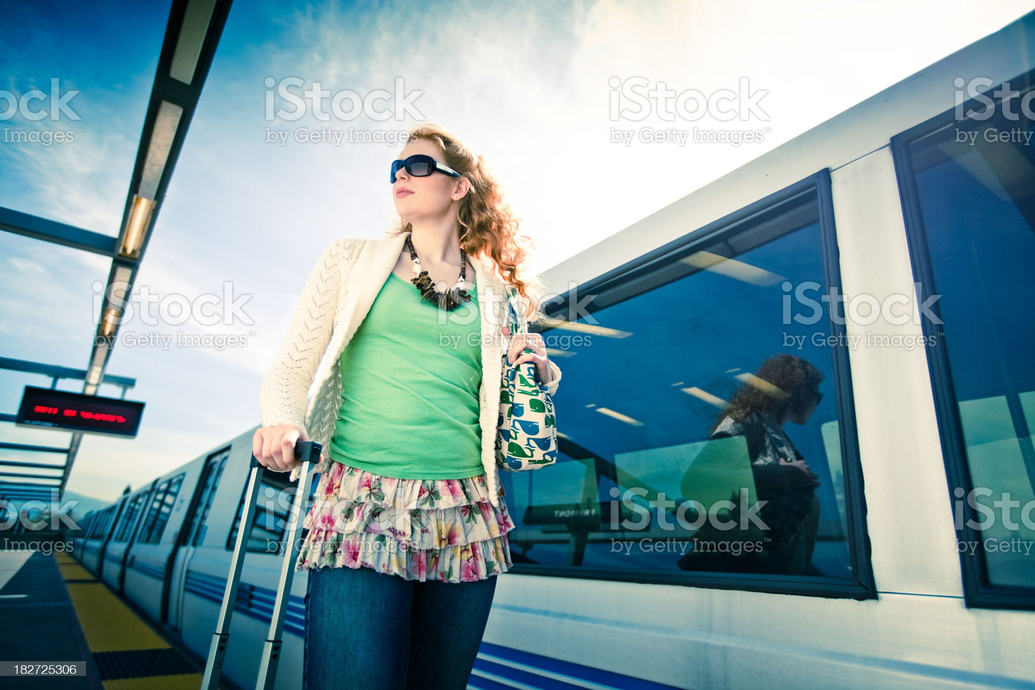 BART Commuter with Luggage (Cross-Processed) royalty-free stock photo