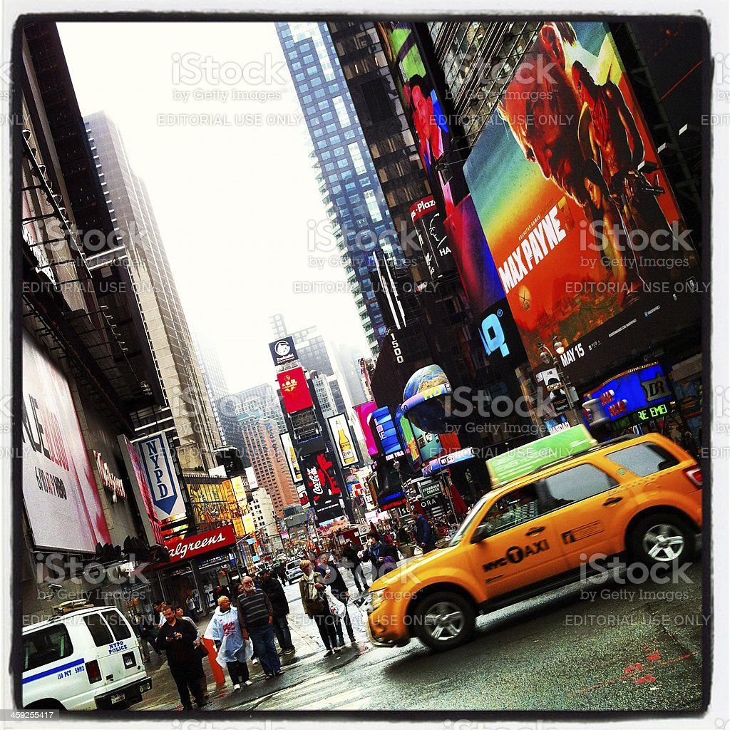 Commuters and taxis at Times Square, New York City royalty-free stock photo