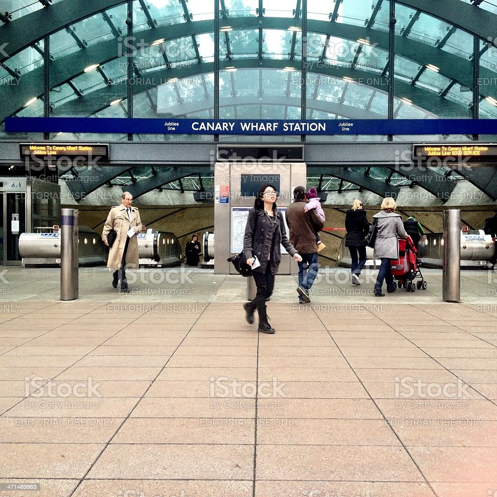 Commuters at Canary Wharf underground station stock photo