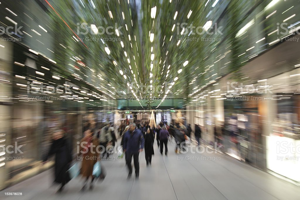 commuters at mall in munich motion blurred with zoom XXXL stock photo