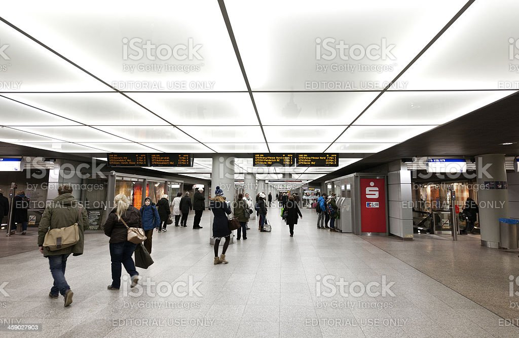 commuters at metro station in Dusseldorf Germany royalty-free stock photo