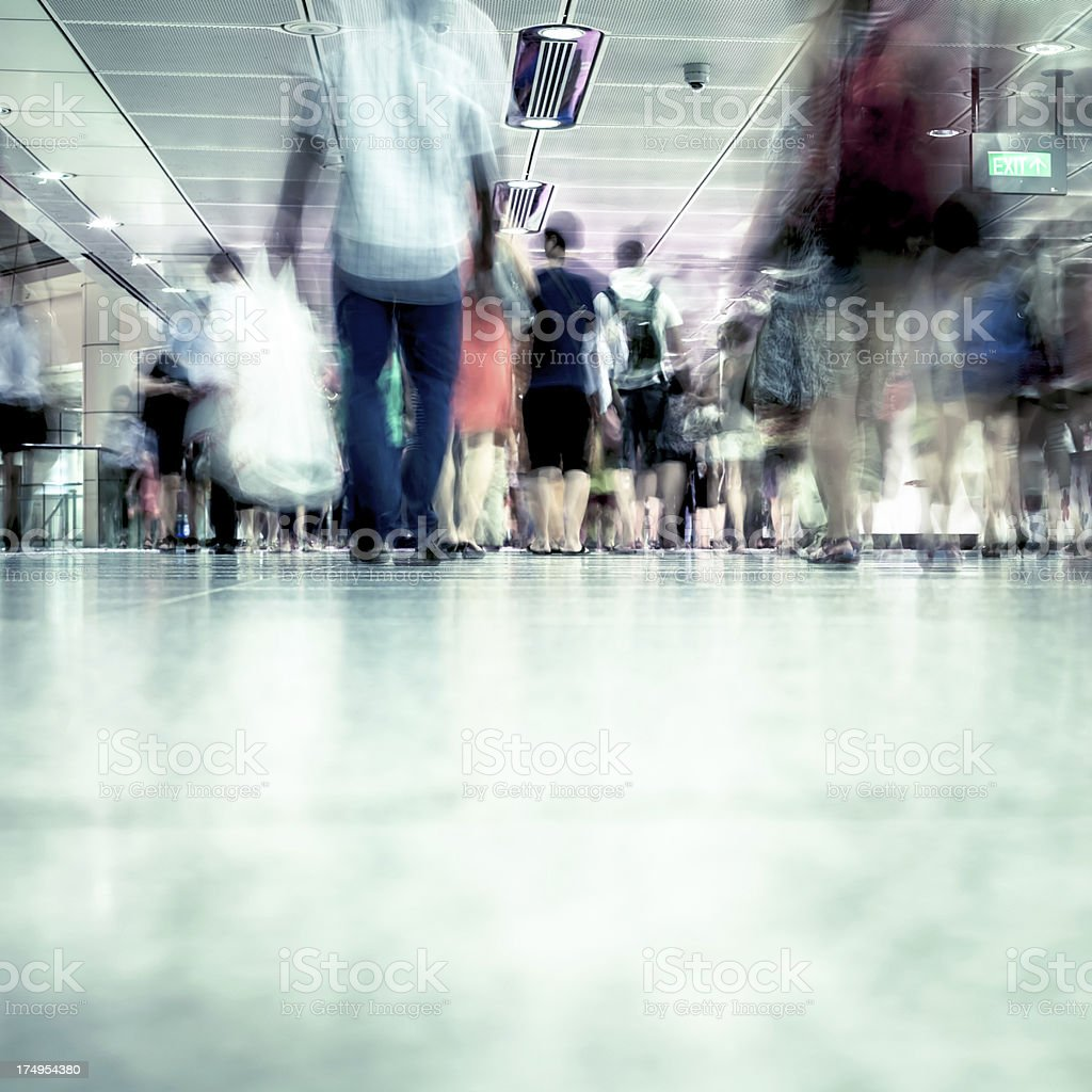 Commuters at Rush Hour in Singapore Underground royalty-free stock photo