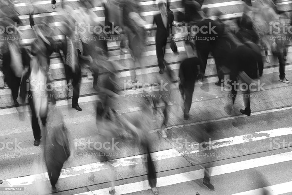 Commuters Crossing Street stock photo