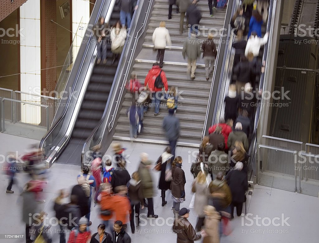 Commuters in a Railroad Station royalty-free stock photo