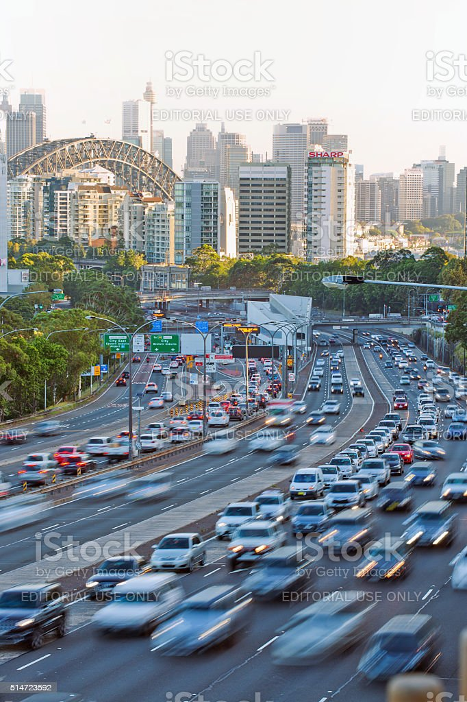 Commuters in cars in the Sydney rush hour stock photo