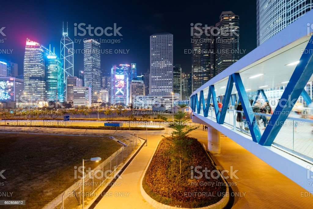 Commuters in Hong Kong. stock photo