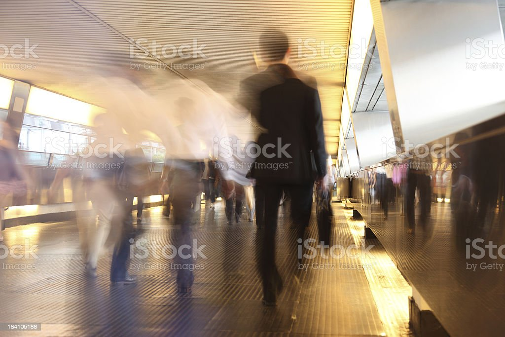 Commuters in Pedestrian Walkway Motion Blur royalty-free stock photo