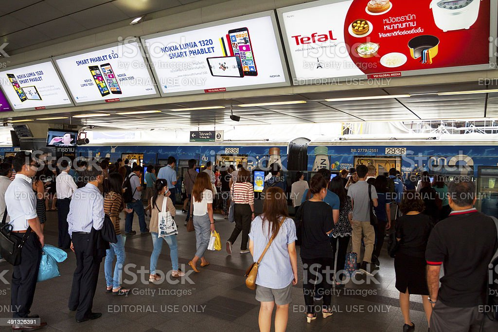 Commuters in queues at BTS stock photo