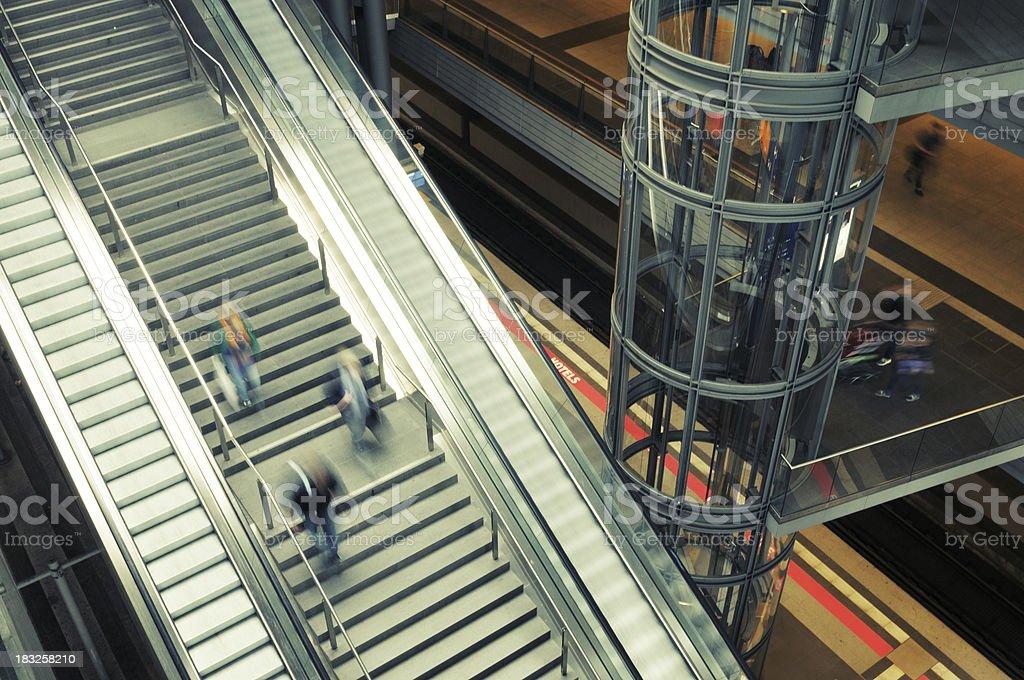 Commuters in Railroad Station Berlin stock photo