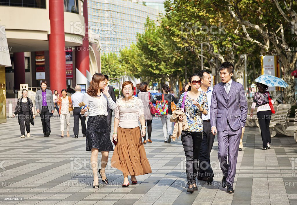 Commuters in Shanghai, China royalty-free stock photo