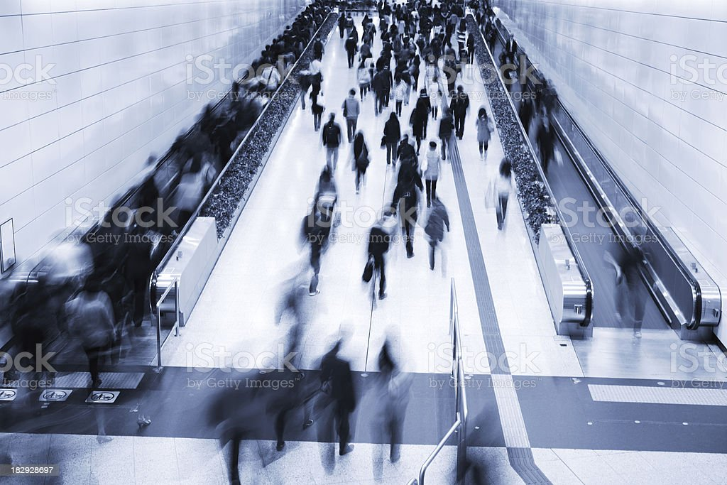 Commuters in Subway Station During Rush Hour royalty-free stock photo